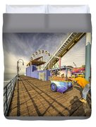 Pushing On The Pier Duvet Cover