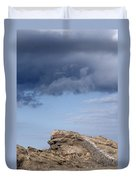 Cala Mesquida Stone Wall Against Rocks With A Stormy Sky Above - Putting Walls To Heaven Duvet Cover