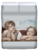 Putti Detail From The Sistine Madonna Duvet Cover