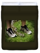 Python Snake In The Grass And Running Shoes Duvet Cover