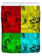 Quad Color Horses Duvet Cover