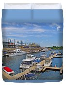 Quays Along Saint Lawrence River In Montreal-qc Duvet Cover