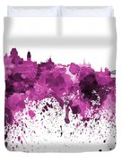 Quebec Skyline In Pink Watercolor On White Background Duvet Cover