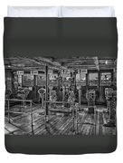 Queen Mary Ocean Liner Bridge 02 Bw Duvet Cover