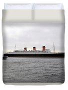 Queen Mary Ocean Liner Full Starboard Side 03 Long Beach Ca Duvet Cover