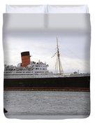 Queen Mary Ocean Liner Starboard Side 05 Long Beach Ca Duvet Cover