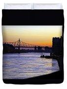 Queensboro Bridge At Night - Manhattan Duvet Cover