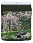 Quiet Time Among The Cherry Blossoms Duvet Cover