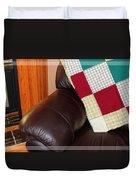 Quilt Beside A Fireplace Duvet Cover