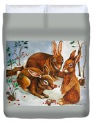 Rabbits In Snow Duvet Cover