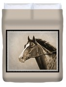 Race Horse Old Photo Fx Duvet Cover by Crista Forest