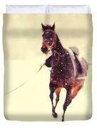 Race In The Snow Duvet Cover