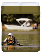 Racer Wading Across A River In An Duvet Cover