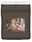 Radha Krishna Oil Canvas Painting Duvet Cover