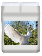 Radiant Great Egret Duvet Cover