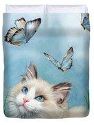 Ragdoll Kitty And Butterflies Duvet Cover