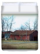 Ragged Red Shed I Duvet Cover