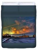 Railroad At Dawn Duvet Cover