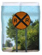 Railroad Crossing Sign Duvet Cover