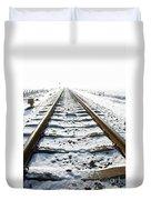 Railroad In Snow Duvet Cover