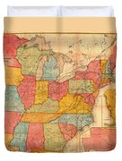 Railroad Map Of The United States 1852 Duvet Cover