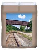 Railroad Train Tracks And Trestle Duvet Cover