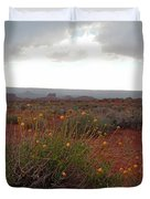 Rain At Monument Valley Duvet Cover by Heather Coen