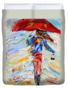Rain Dance With Red Umbrella Duvet Cover