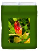 Rain Drops On Colorful Leaf Duvet Cover