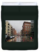 Rain On Water Street 1 Duvet Cover