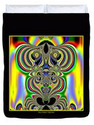 Rainbow Alien Owls Fractal 57 Duvet Cover