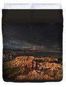 Rainbow And Thunderstorm Over The Paunsaugunt Plateau  Duvet Cover