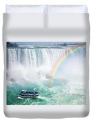 Rainbow And Tourist Boat At Niagara Falls Duvet Cover
