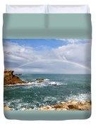 Rainbow Over Cape Dombey Obelisk Duvet Cover