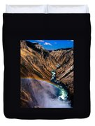 Rainbow At The Grand Canyon Yellowstone National Park Duvet Cover
