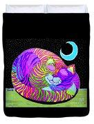 Rainbow Cat Blue Moon Duvet Cover