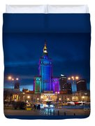 Palace Of Science And Culture In Rainbow Colors  Duvet Cover