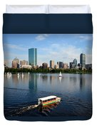 Rainbow Duck Boat On The Charles Duvet Cover