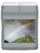 Rainbow From Spray Of Lower Yellowstone Falls Against Yellowstone Canyon Wall-wyoming  Duvet Cover