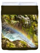 Rainbow In Avalanche Creek Canyon In Glacier National Park-montana Duvet Cover