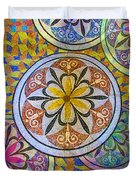 Rainbow Mosaic Circles And Flowers Duvet Cover