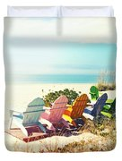 Rainbow Of Adirondack Chairs IIII Duvet Cover