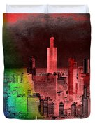 Rainbow On Chicago Mixed Media Textured Duvet Cover
