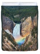 Rainbow On The Lower Falls Yellowstone National Park Duvet Cover