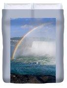 Rainbow Over Niagara. Duvet Cover