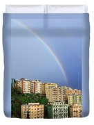 Rainbow Over The Town Duvet Cover