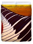 Rainbow Piano Keyboard Twist In Acrylic Paint With Sheet Music Notes In Blue Yellow Orange Red Duvet Cover