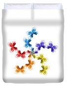 Rainbow Roses In White Duvet Cover