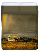Rainbow Over The Tower Duvet Cover