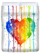 Rainbow Watercolor Heart Duvet Cover